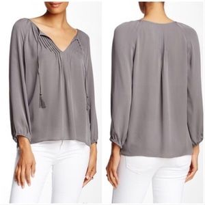 5/$25🌿 Joie 100% Silk Pleated Blouse with Tassels